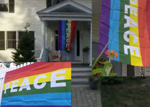 42 awesome neighbors hang Pride flags after vandals hit lesbians' home