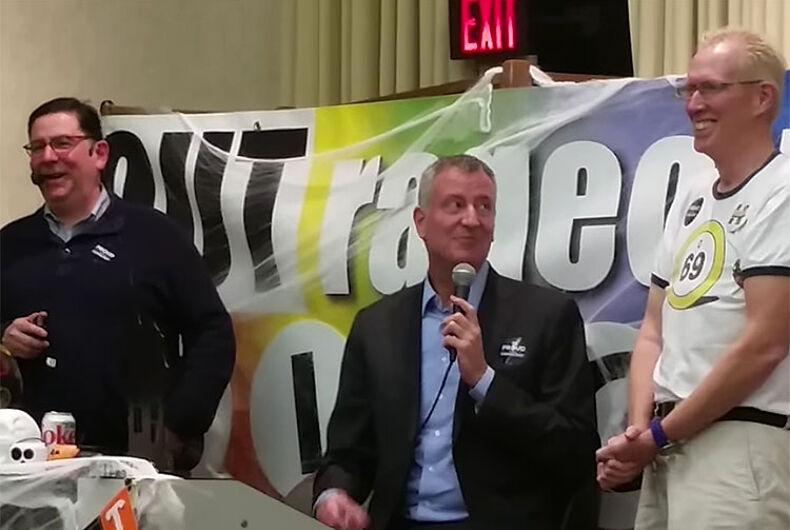 NYC Mayor Bill de Blasio crashed Pittsburgh's Halloween gay bingo game
