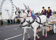 You can commute to work in a unicorn-drawn rainbow carriage in London this week