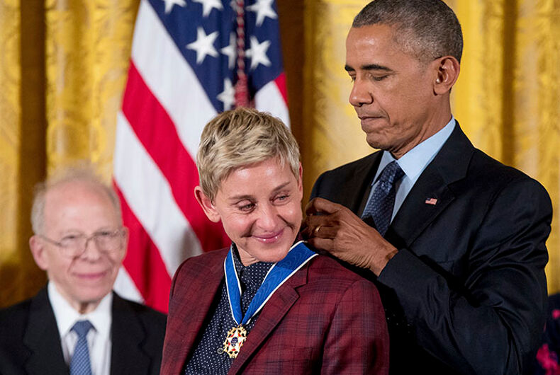Obama awards Ellen DeGeneres medal of freedom even though she did this