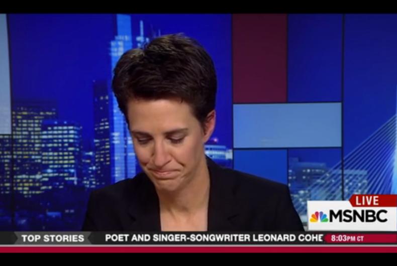 Watch: Rachel Maddow chokes up describing Mike Pence's anti-LGBT policies