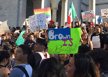 Thousands of students walk out of classrooms in protests against Donald Trump