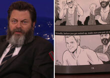 Nick Offerman's woodworking book includes steamy cartoon co-starring Chris Pratt