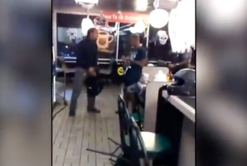 Horrifying video shows two gay men brawling with attacker in Waffle House