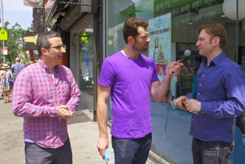 Billy on the Street proves gay men don't care about John Oliver