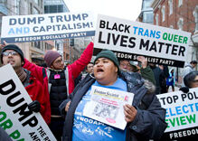 Anti-Trump protesters won't stop even as inauguration moves forward