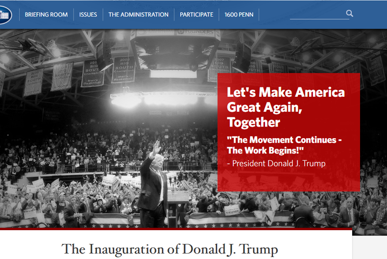 New Trump White House website absent any mention of LGBT rights, climate change