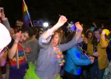 Hundreds of LGBT people held a dance party outside Mike Pence's house