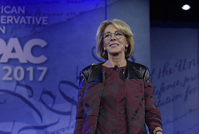 Betsy DeVos wants to give teachers guns instead of protecting students from discrimination