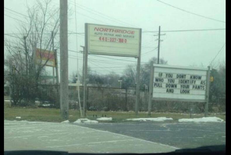 transphobic sign ohio