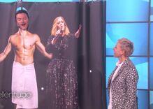 Luke Evans serenades Ellen from the shower with a bit of Adele