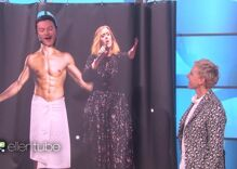 Luke Evans serenades Ellen from the shower with a bit of Adele