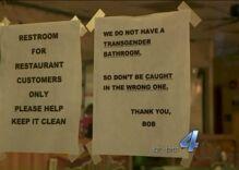 Restaurant posts transphobic, threatening bathroom sign