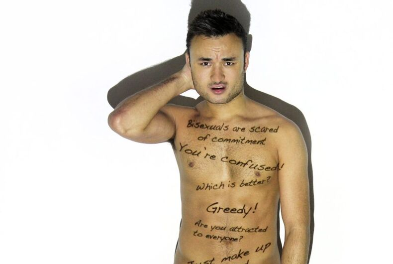 British activist strips down to reveal the daily stigma faced by bisexuals