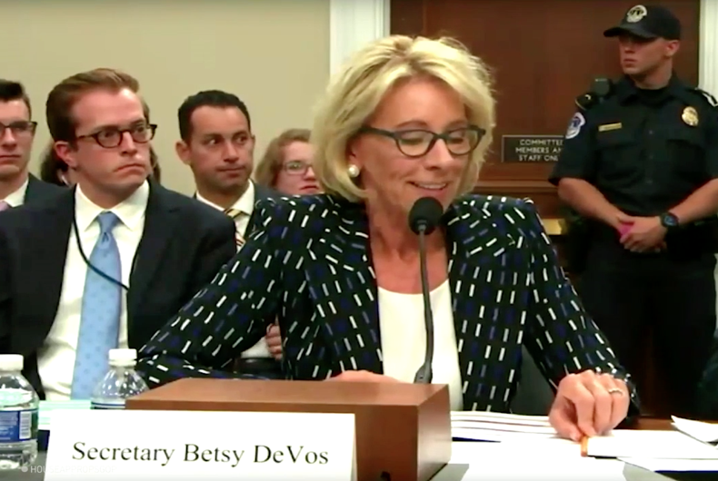 Besty DeVos' sexual harassment policy would harm trans students. Of course.