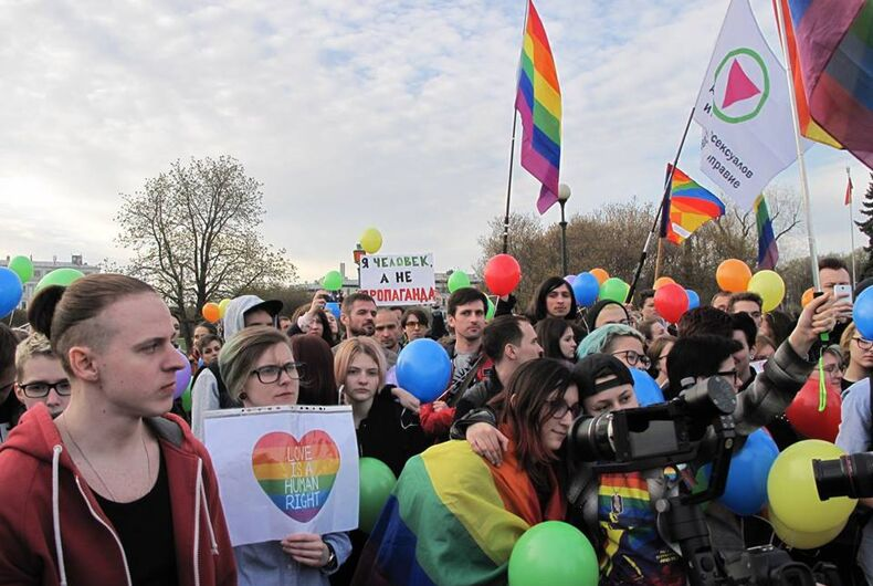 Russian LGBTQ activists hold flashmob to bring attention to Chechen atrocities