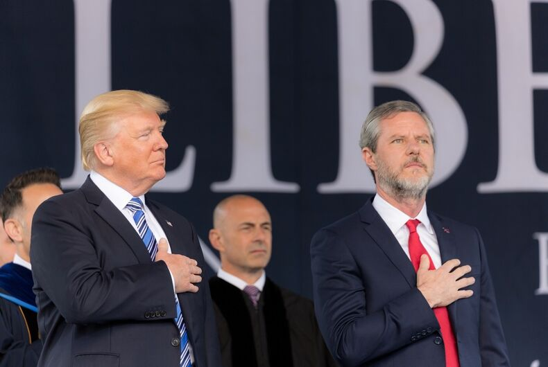 President Donald Trump attends the Liberty University Commencement Ceremony and delivers remarks Saturday, May 13, 2017, Lynchburg, Virginia.