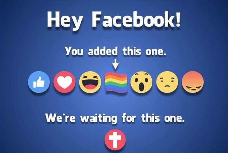 Facebook reacts pride cross