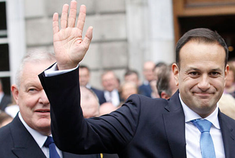 Ireland's new Prime Minister Leo Varadkar waves after being elected Ireland's 14th Taoiseach.