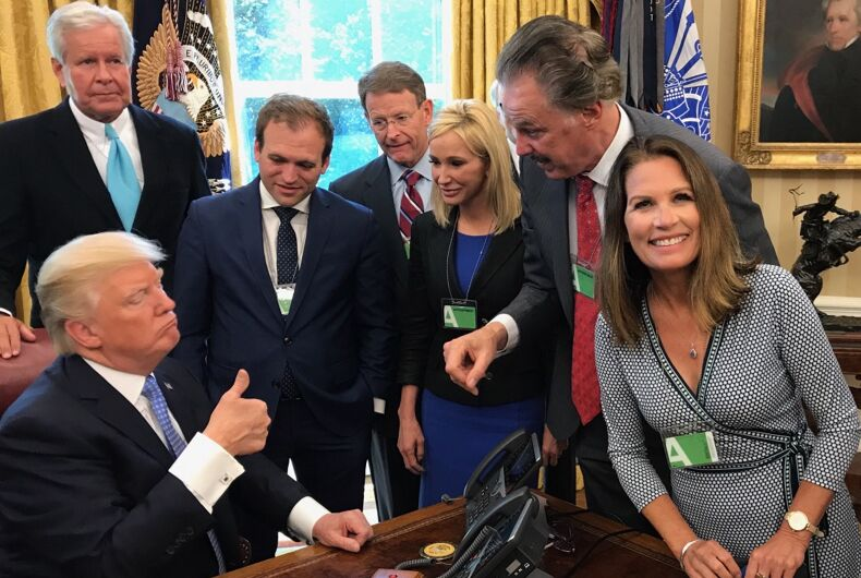 Michelle Bachmann and other religious right leaders meet with President Donald Trump in the Oval Office