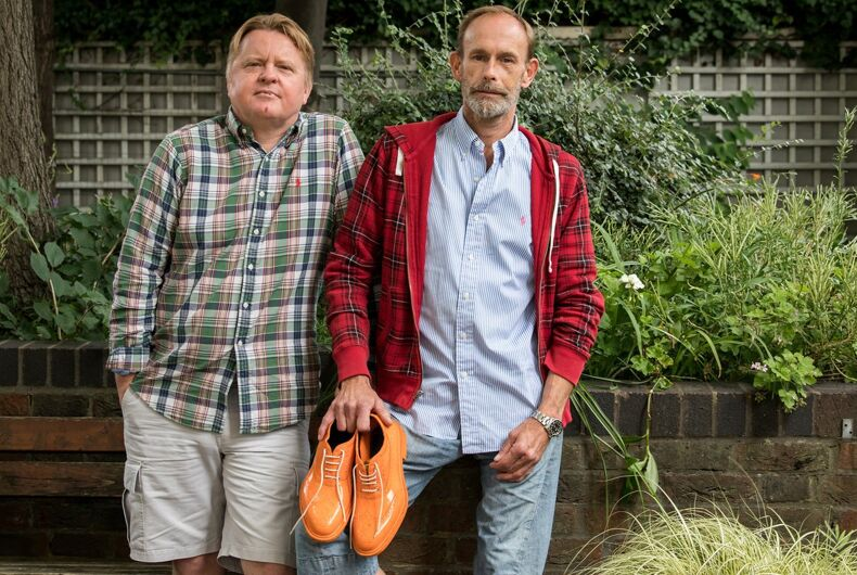 Gay couple viciously beaten by gang because one wore bright orange shoes