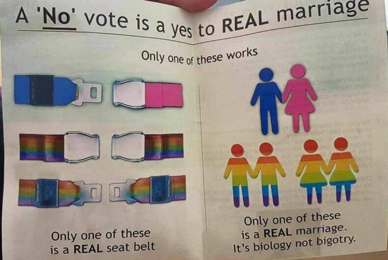 This mailer uses seatbelts to promote homophobia