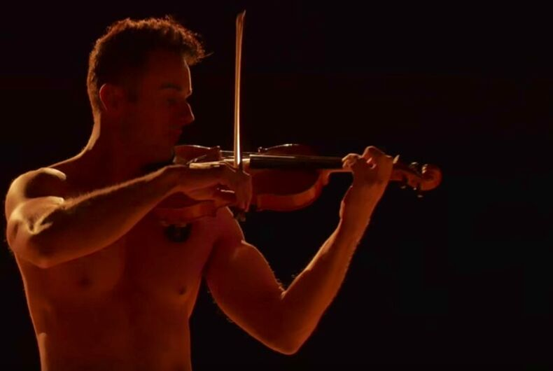 This shirtless violinist playing the 'Stranger Things' theme is what you need today
