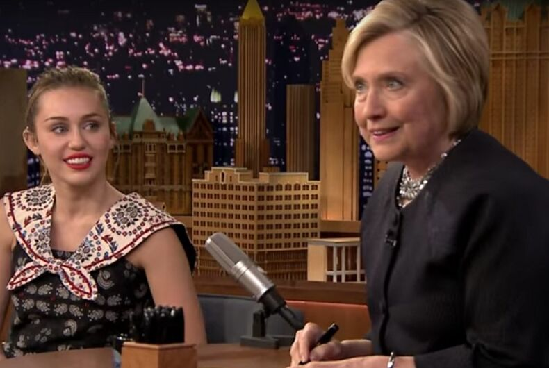 Must see: Miley Cyrus delivers a tearful thank you note to Hillary Clinton