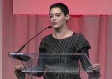 Rose McGowan gives her first speech since accusing Harvey Weinstein of rape