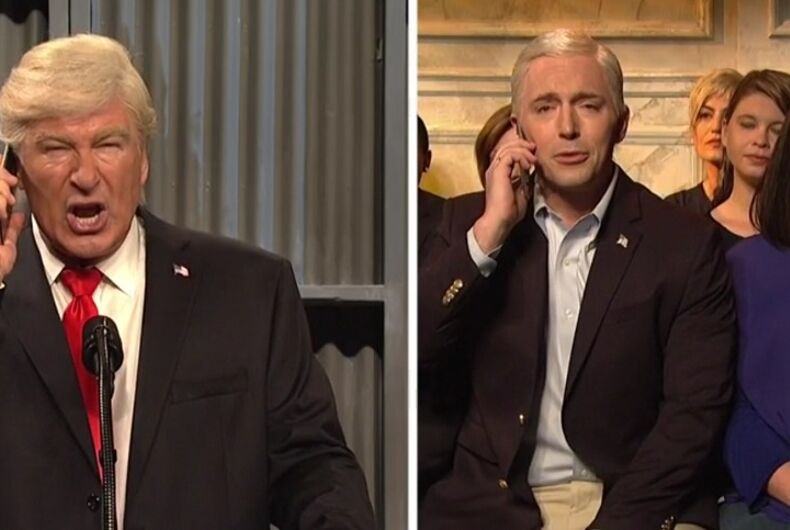 Trump tells Pence to leave a gay wedding on 'SNL'