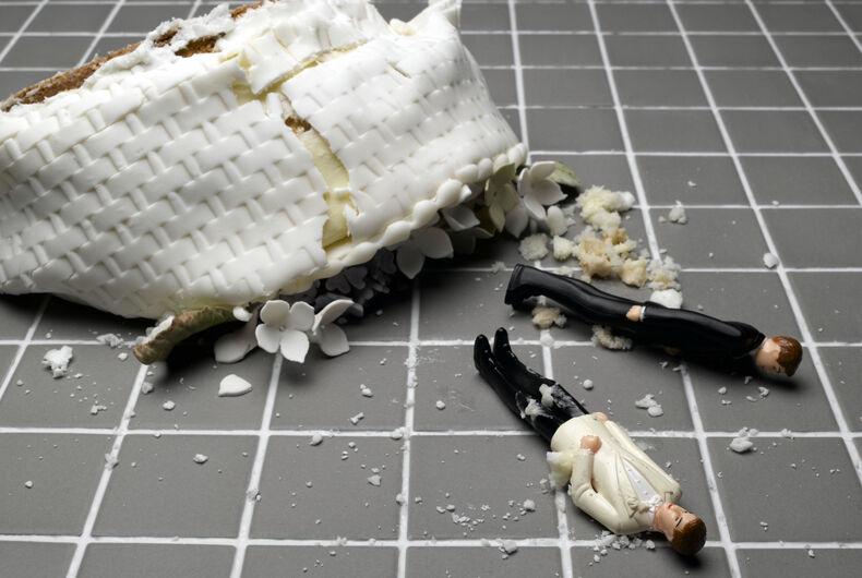 smashed gay wedding cake