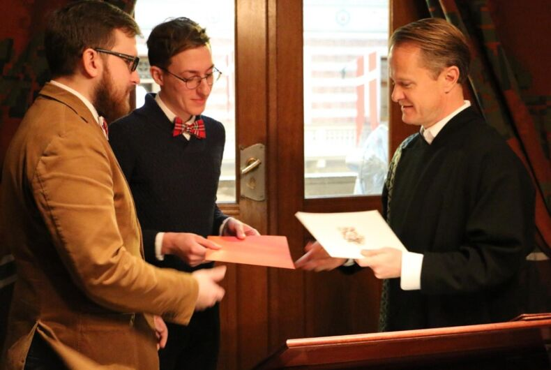 Police are after Russia's first legally married gay couple