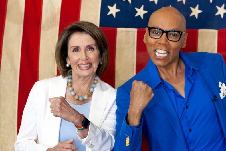 House Minority Leader Nancy Pelosi and RuPaul