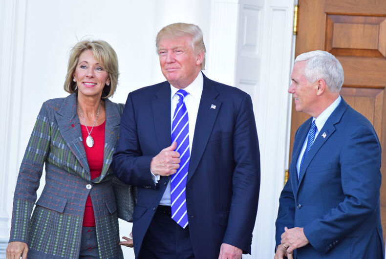 BEDMINSTER, NEW JERSEY - 19 NOVEMBER 2016: President-elect Donald Trump & Vice President-elect Mike Pence met with potential cabinet members at Trump International. Betsy DeVos, left, is Trump's pick for Education Secretary.