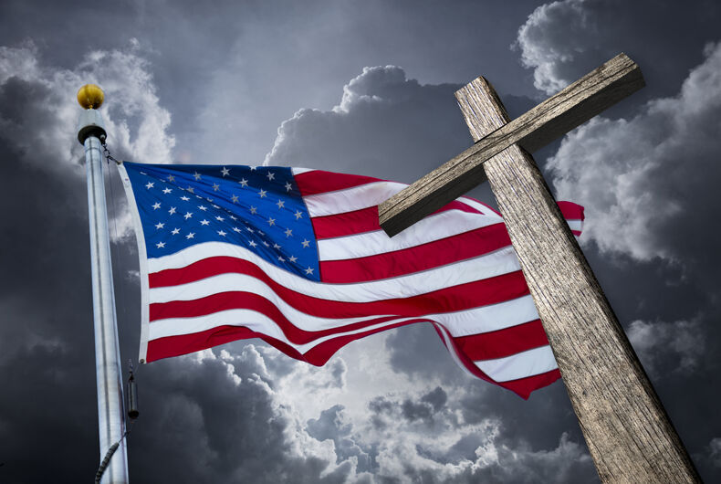 American flag and a cross