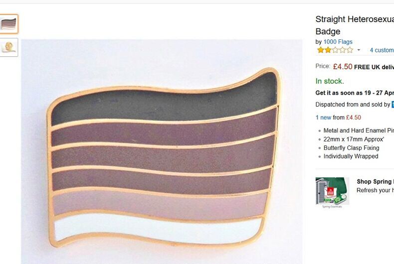 You can now buy a 'straight pride flag' pin on Amazon