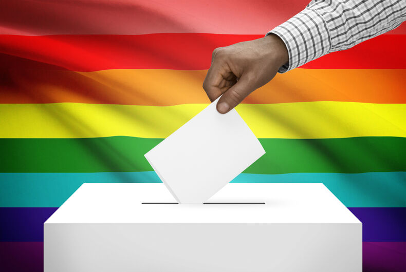 Ballot box with a rainbow background