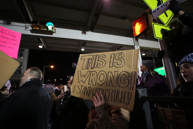 JANUARY 28 2017: Thousands of activists joined NYC council members to protest the detention of travelers with entry visas at JFK airport.