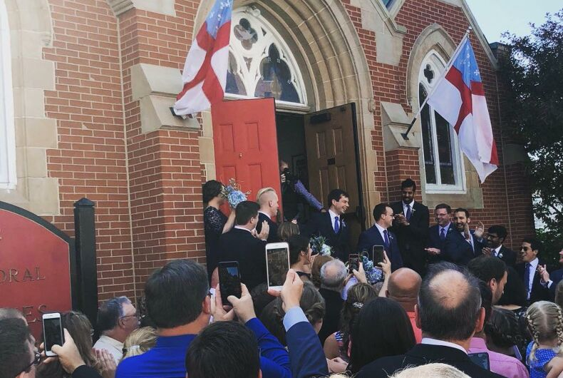 South Bend's gay mayor gets married and then the couple attend Pride