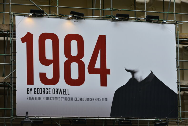 A billboard advertising Robert Icek and Ducan MacMillan's theatrical adaptation of George Orwell's Nineteen Eighty-Four on May 30, 2015 in London, UK.