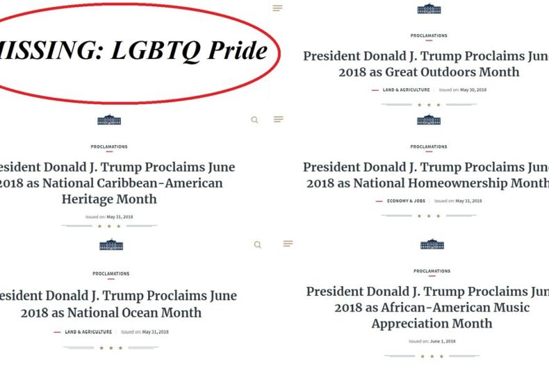 A list of Trump's June proclamations missing Pride Month