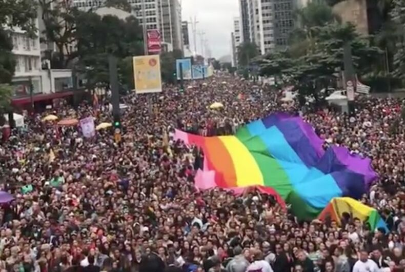 Millions of revelers stream down the streets in Sao Paulo's pride parade.