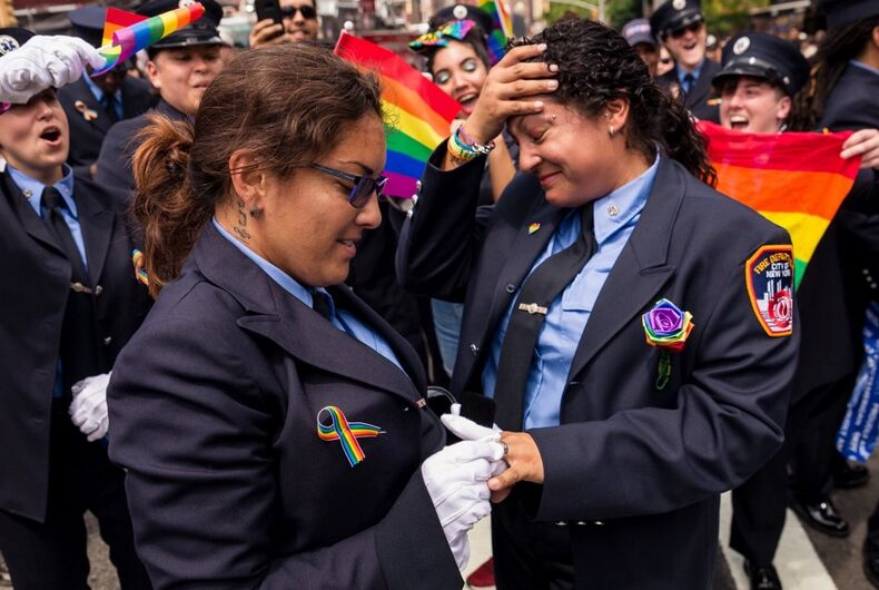 Two NYFD employees got engaged during the 2018 NYC Pride Parade