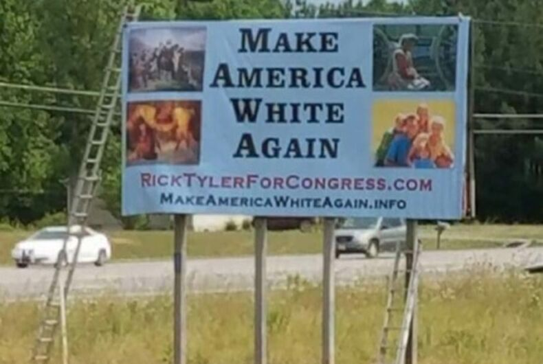 Billboard for a Tennessee restaurant owner turned congressional candidate Rick Tyler that reads