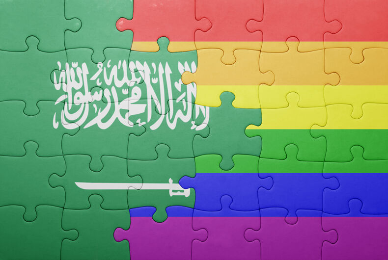 A puzzle that merges pieces from the rainbow flag and the Saudi Arabian flag into one graphic
