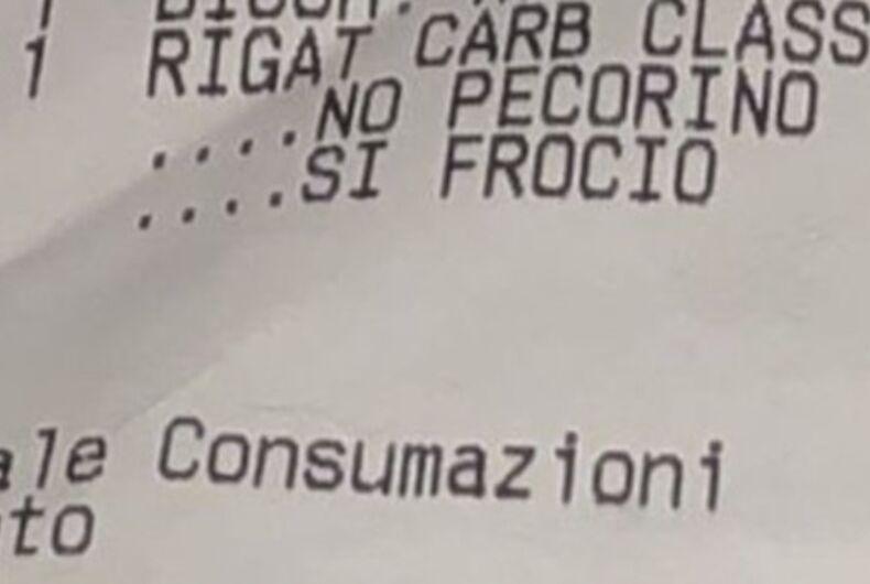 Close up of a slur left on a gay couple's restaurant receipt