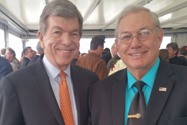 Republican US Senator Roy Blunt of Missouri poses with antigay activist turned political candidate Hardy Billington.