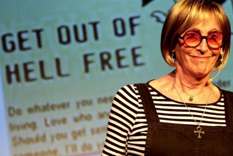 Kate Bornstein on stage performing during