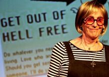 Trans performer Kate Bornstein heckled on Broadway, but the response will warm your heart