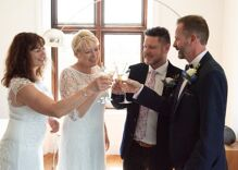 These best friends pretended to be a straight couple for years. Now they had a double wedding.